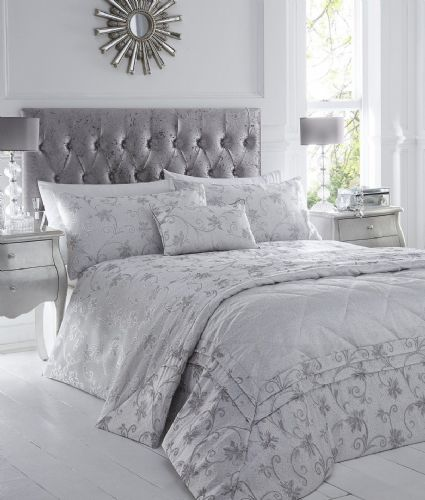 Silver Grey Stylish Floral Jacquard Duvet Cover Luxury Beautiful Glamour Bedding Range